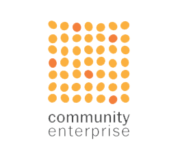 Community Enterprise Logo, Links to Website.